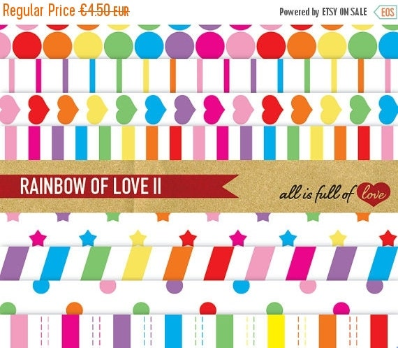 80% OFF DIGITAL Background PAPER Pack Rainbow of Love Ii with Instant Download