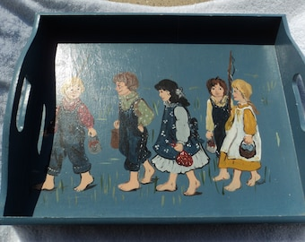 Hand made decorative tray for hanging only/ Hand painted group of children / Gone Fishing/folk art