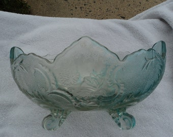 Footed fruit bowl/Federal Indiana light blue/Madrid depression glass/scalloped edges/