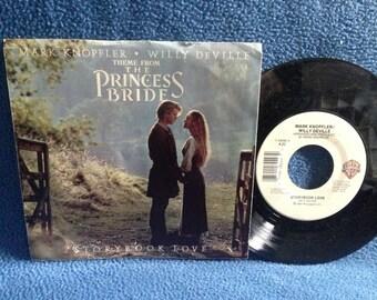"Vintage, Mark Knopfler, Willy Deville - ""Theme From The Princess Bride / Storybook Love"" Vinyl 7"", 45 RPM, Record, Soundtrack Original Press"