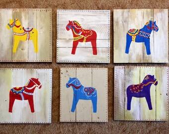Dala Horse Wall Art, painted Dala Horse, Swedish Dala Horse