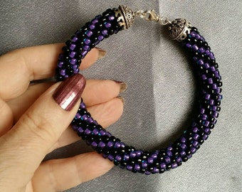 "Beaded Bracelet, Sterling Silver, Purple and Black spiral, 9.5"", crocheted beadwork, beautiful and comfortable (#1290)"