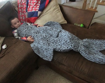 Boy's Knitted Shark blanket! (Made to Order)