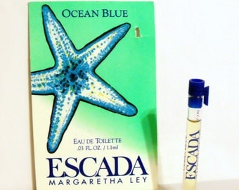 Vintage 1990s Ocean Blue by Escada 0.03 oz Eau de Toilette Splash Sample Vial on Card PERFUME