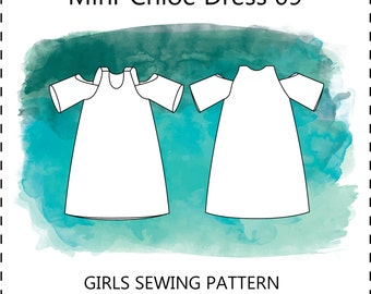 Mini Chloe dress 09 PDF sewing pattern cold / off the shoulder unfitted short long summer