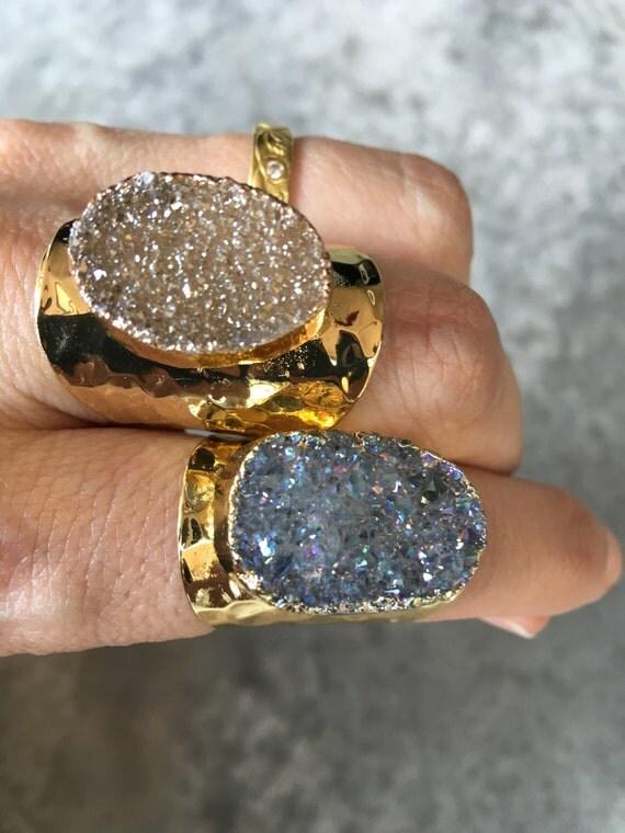 Quartz Druzy Rings