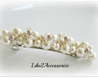 Pearl Bridal Barrette, Wedding Ivory Barrette, Pearl Hair Accessory, French Barrette, Ivory White, Wedding Hair Clip, Beaded Pearl Barrette