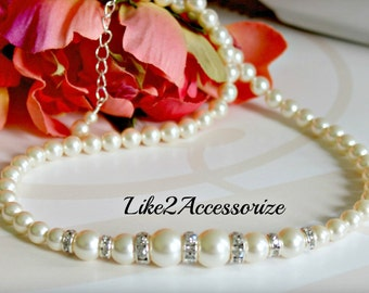 Bridesmaid Necklace Bridal Pearl Swarovski Pink White Ivory Brown Pearl Bridal Jewelry Wedding Spring Beaded Bridal Party Gift Accessories