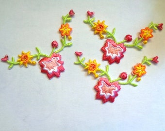 Embroidered Iron-On Applique Floral , Lime / Rose / Yellow / White / Pink , x 3, For Romantic & Victorian Crafts