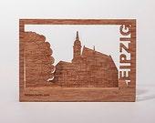postcard wood - Leipzig 3 cards