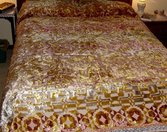 Italian Chenille Wedding Quilt Bedspread Throw Vintage 1950's European for Double Full Size Bed