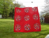 RESERVED - Jo Ellen - Red Tablecloth. Brilliant Red Whimsical Xmas Designs in 8 Circles.  Folk Art Rustic Table Cover