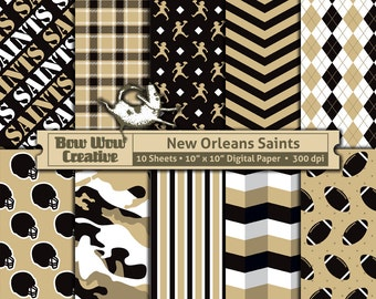 10 New Orleans Saints Pattern Digital Papers for Scrapbooking, Invitations, Cards, Graphic Design, Paper Crafts, instant download