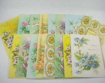 Vintage Birthday Greeting Cards Sets of 16 - 1970s - Mixed Lot of Sixteen
