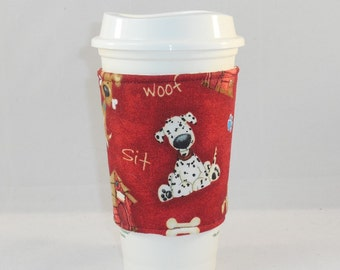 Slide on Coffee Cozy Made With Dog Inspired Fabric