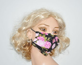 Cute surgical mask, pink Roses, medical mask, washable, reusable, Women face mask, Cotton