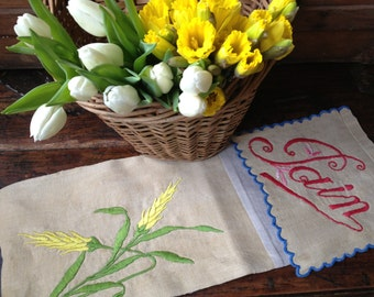 French Baguette Pain Linen Storage Sack Hand Exceptional Embroidery Storage French Country Farmhouse