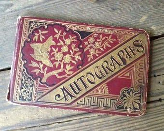 1920s Leather Autograph Book Scrapbooking Wedding Props Sepia Gold Gilt Embossed Floral Birds