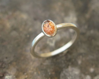 Sunstone ring, Sterling Silver ring, Sunstone Jewelry