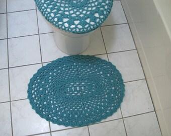 Crochet Bathroom Mat or Rug - Aqua (CBM1A)