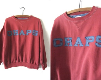 CHAPS Ralph Lauren 90s Sweatshirt - Denim Applique Preppy Style Script Sweatshirt - Mens Medium
