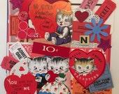 35 Pc Valentines Day Scrap Pack / Vintage Valentine Ephemera Scrap Pack for Altered Art, Mixed Media, Collage
