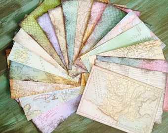 "CardStock Map Pages / 20, 40, 60, or 80 Sheets 4.5"" x 6.5"" Uncharted Map Sheets Card stock Paper"
