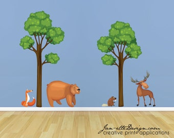 Woodland Wall Decal,Forest Trees and Animal Fabric Wall Decals,Removable and Repositionable Woodland Theme Wall Stickers
