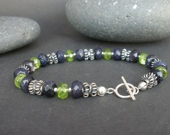 Natural Gemstone Peridot Faceted Rondelles 7mm and Blue Sand Stone Faceted Rondelles 925 Bali Silver Bracelet, Multi Stone Bracelet
