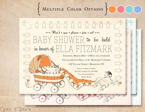 Printable Baby Shower Invitation - 5x7 - Vintage Carriage - Orange, Pink, Blue - Antique, Storybook, Retro, Kitsch, 1950s, 1960s