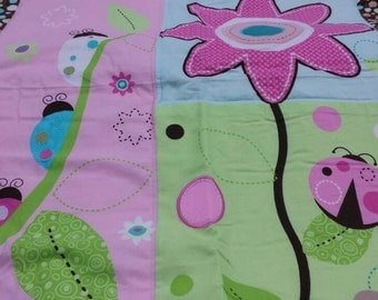 baby quilt/ green and pink baby blanket/ nursery quilt