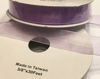30 feet of sheer purple / lilac color ribbon, 5/8  inch wide (R6)