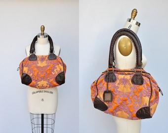 Tapestry bag - Large LEATHER & Tapestry Bag - Vintage Tapestry Bag - Colorful - Shoulders Bag Purse - Poupa Litza Bag - Floral Tapestry Bag