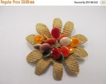 ON SALE Vintage Woven Reed and Enameled 3D Flower Pin Item K # 1004