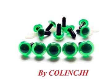 12mm Safety Eyes / Plastic Eyes - Amigurumi Animals Craft Eyes Green 10pairs I41