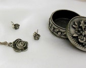 Pewter Brooch Necklace and Earring Set by JJ