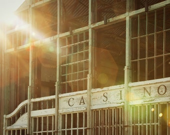 Asbury Park Casino with sun flare - Asbury Park NJ, Historic Asbury Park, Jersey Shore, Architecture Photograph, Historic new jersey,