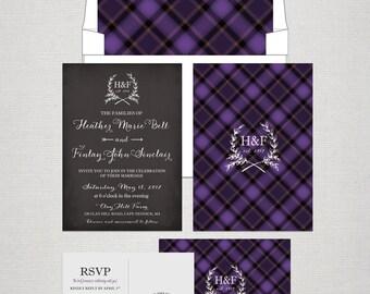 Scottish Tartan Chalkboard Wedding Invitation RSVP Set Purple Scottish Wedding UK wedding British wedding Scotland Design fee