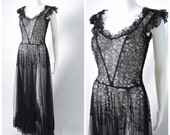 RESERVED layaway payment Vintage 1930s 30s Black Lace Dress with Sweetheart Neckline Sexy Sheer Evening Gown Burlesque Old Hollywood
