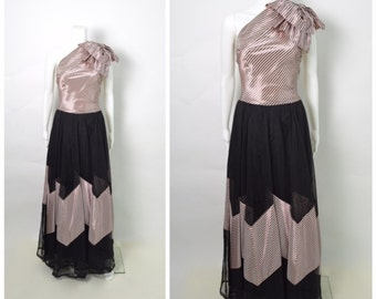 Vintage 1940s 40s Dress Emma Domb Party Lines Gown Pink and Black