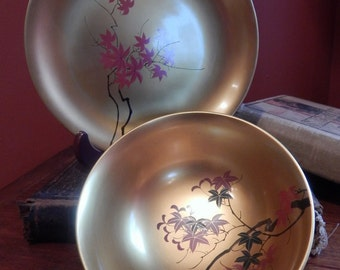 Vintage Japanese Lacquerware Bowl and Plate Set- Japanese Maple Leaf