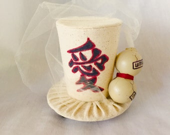 Tiny Top Hat: The Sand Gourd - small little miniature fascinator beige anime love kanji naruto gaara