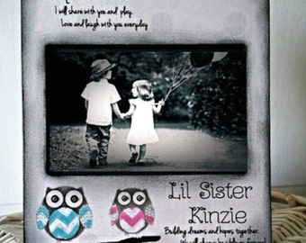 Owl Big Sister Little Brother Sibling Chevron rainbow personalize names Kid 4x6 or 5x7 custom colors nursery brothers sisters Picture Frame