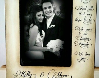 Personalized picture frame All that we are loving family Wedding  Distressed Vintage Thank you Parent Photo Frame  Personalized Gift Wedding