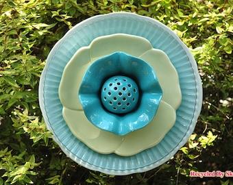 Misty Aqua Blue Glass Garden Flower Art for Garden