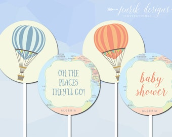 Hot Air Balloon Baby Shower Cupcake Toppers || Oh the Places You'll Go || Travel Baby Shower or Birthday - Printable PDF File