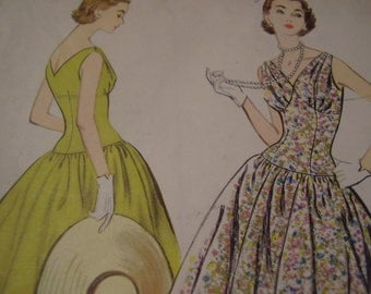 Vintage 1950's McCall's 3256 Dress Sewing Pattern, Size 14 Bust 32