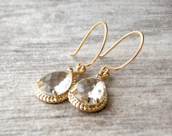 Gold Filled and Clear Glass earrings. Wedding, Bridesmaids,Diamond Jewelry