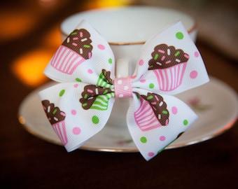 Cupcake Bow Hair Clip Kids Hair Bow Girls Hair Bow Toddler Hair Bow Baby Hair Bow Birthday Party Hair Bow
