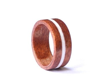 Men's  Ring, Unisex Wood Ring With Antler Inlay, Mahogany Wood Wedding Band